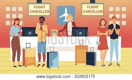 Concept Of Flight Delay Or Cancel, Change Of Plans. Tired, Perplexed And Upset Of Flight Delay Passe
