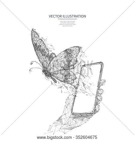 Free Internet Concept. Free Wifi Metaphor Isolated On White Background. Polygonal Butterfly Flies Ou