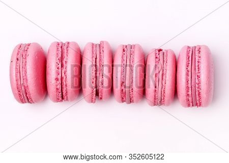 French Strawberry Macarons Six Pastel Macarons On White Background Pink Macarons Horizontal