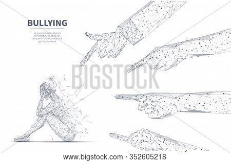 Online Bullying Concept. Young Girl Seats On Floor In Depression And Other People Touching Fingers I
