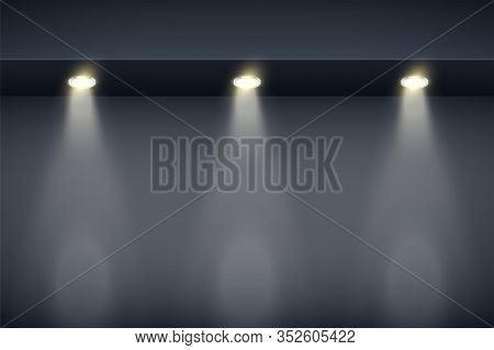 The Border On Black Wall With Spotlights. Modern Interior False Ceilings With Design For Kitchen And