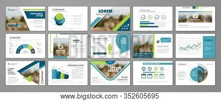 Blue And Green Abstract Presentation Slide Templates. Infographic Elements Template  Set For Web, Pr