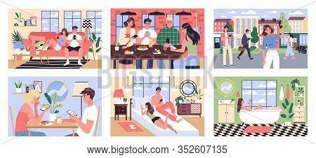 Smartphone Addiction Concept Illustration. People Eat, Rest And Bath