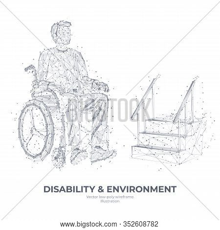Disability And Environment Concept. Abstract Digital Technology Innovation Vector Illustration. Low