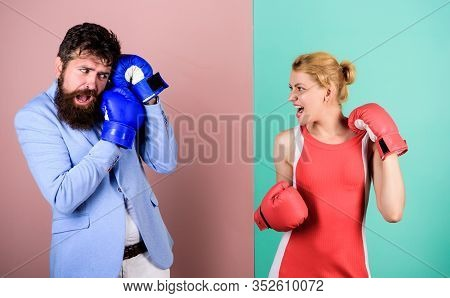 Man And Woman Boxing Fight. Boxers Fighting Gloves. Difficult Relationships. Couple In Love Competin