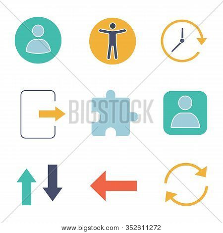 Ui, Ux Glyph Color Icons Set. Userpic, Accessibility, Update, Exit, Extension, User Account, Vertica