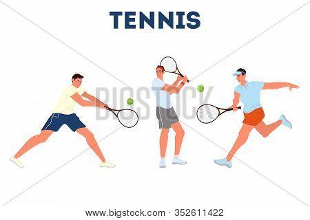 Tennis Player Holding A Racket On Tennis Court. Tennis Player Training.
