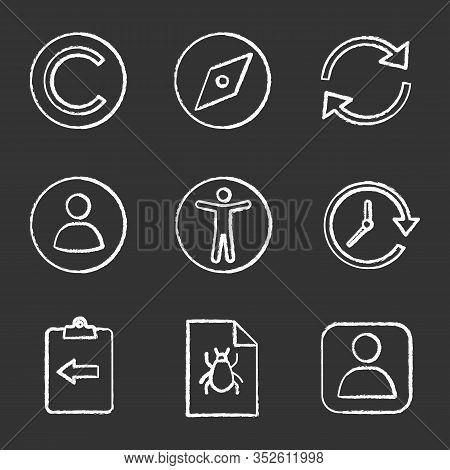 Ui, Ux Chalk Icons Set. Copyright, Explore Tool, Refresh Arrow, Userpic, Accessibility, Update, Assi