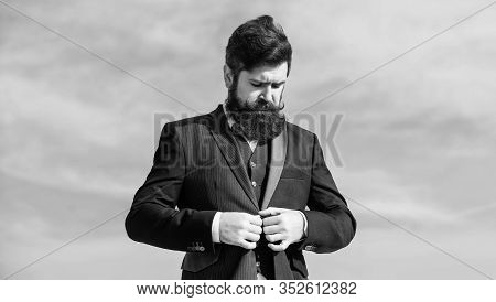 Male Fashion Formal Menswear. Fashion Trend. Guy Beard And Mustache Wear Formal Clothes. Just Right.