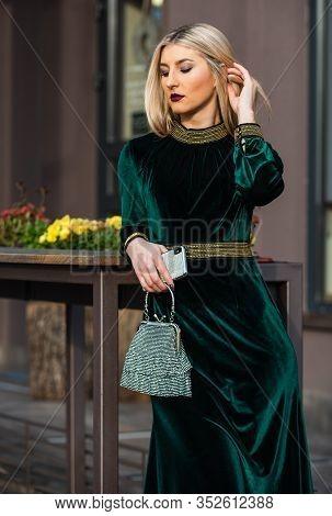 Modern Life. Girl Care Gem Stone Handbag Or Purse. Glam Clutch Accessory. Elegant Woman In Green Vel