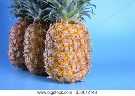 Three Close Up Pineapples On Blue Background