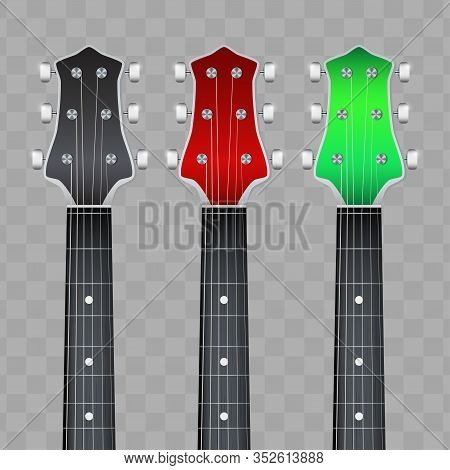 Set Of Rock Electro Guitars Neck Fretboard And Headstock. Vector Illustration Isolated On White Back