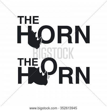 Rhino The Horn Logo Wordmark Bundle Set