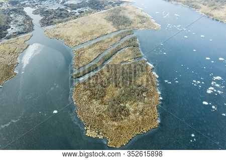 An Island With Reeds In The Middle Of A River. The Island Is Similar To Mainland Africa. Ukrainian R