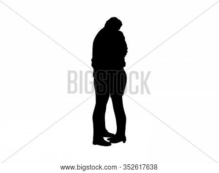 Silhouette Two Lovers Man And Woman Embracing. Vector Illustration Icon
