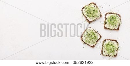Food Swap. Rye Bread With Tofu And Microgreen On Dairy Background, Panorama