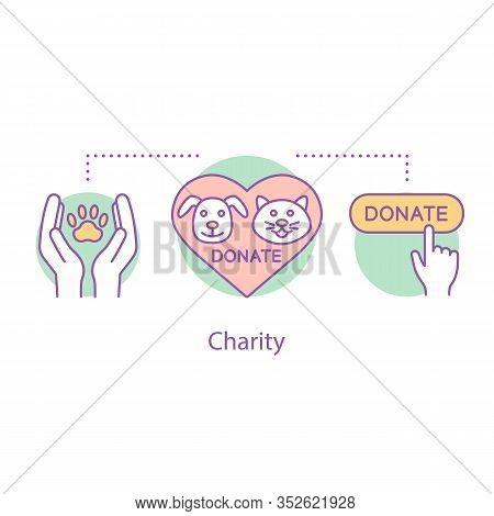 Donation For Pets Concept Icon. Animals Welfare Idea Thin Line Illustration. Charity. Volunteering.