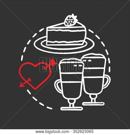 Cafe Chalk Concept Icon. First Date Idea. Coffee House. Latte Macchiato And Cheesecake. Vector Isola
