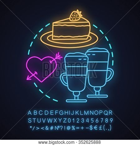Cafe Neon Light Concept Icon. First Date Idea. Coffee House. Latte Macchiato And Cheesecake. Glowing