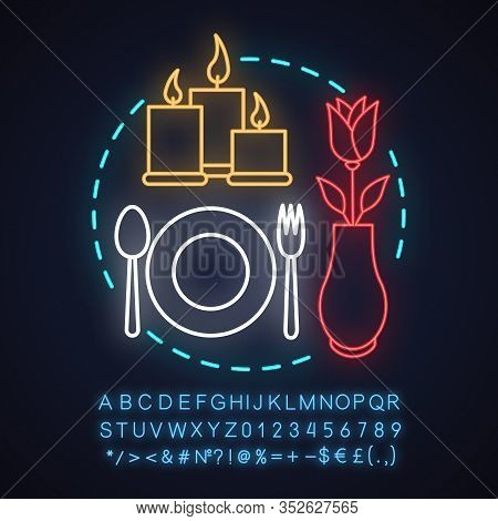 Restaurant Neon Light Concept Icon. Cafe Idea. Special Occasion. Romantic Supper. Glowing Sign With
