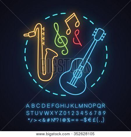 Music Store Neon Light Concept Icon. Music Festival Or Concert Idea. Symphony Orchestra. Guitar, Sax