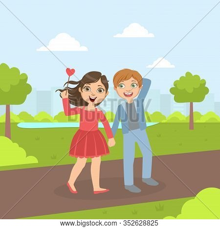 Cute Happy Boy And Girl Walking In The Perk, Friendship And Love Between Kids, Happy Valentine Day V