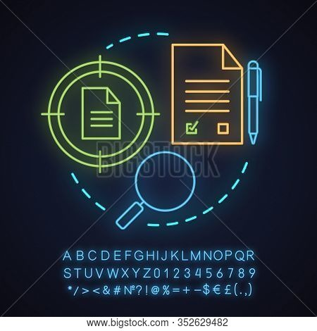 Data Searching Neon Light Concept Icon. Choosing Market Segment Idea. Contracts Finder. Research. Gl
