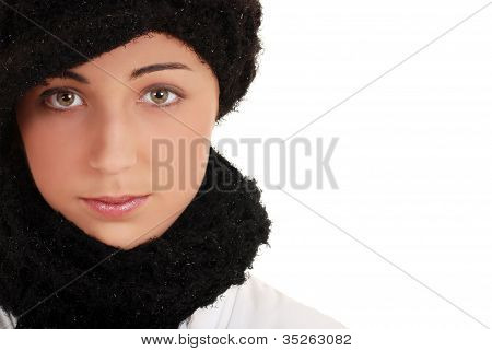 Portrait teen with winter hat and scarf