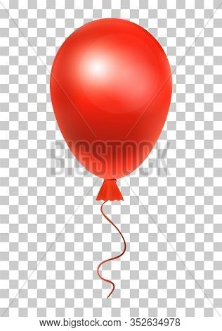 Red Helium Balloon - Vector Illustration For Your Design.