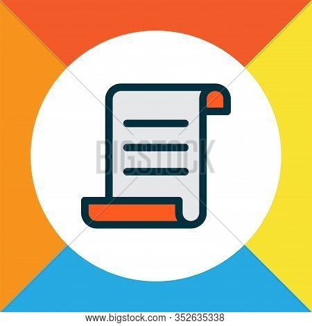 Manuscript Icon Colored Line Symbol. Premium Quality Isolated Parchment Element In Trendy Style.