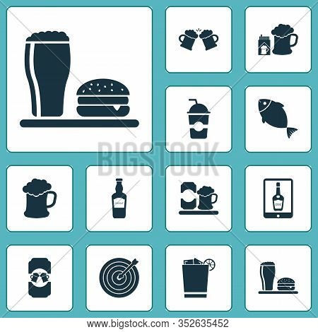 Alcohol Icons Set With Lunch, Fish, Tablet And Other Froth Elements. Isolated Vector Illustration Al