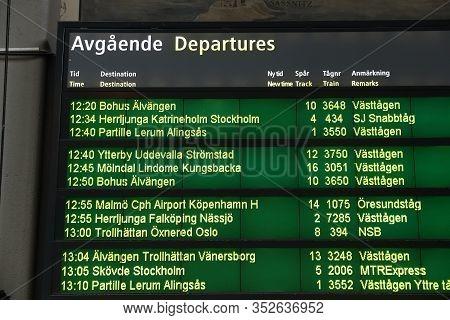 Gothenburg, Sweden - August 27, 2018: Departures At Gothenburg Central Station In Sweden. It Is The