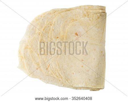 Thin Pita Bread On A White Background. Armenian Pita Bread Close-up.