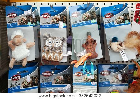 Minsk, Belarus - February 2, 2020: Pet Toys On A Shelf In A Pet Store Close-up.