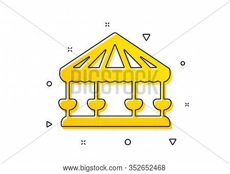 Amusement Park Sign. Carousels Icon. Yellow Circles Pattern. Classic Carousels Icon. Geometric Eleme