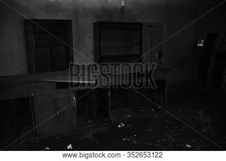 Chomutov, Czech Republic - February 16, 2020: Old Wooden Table In Abandoned House