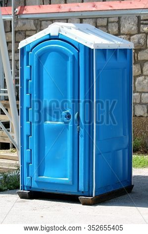New Portable Blue And White Ecological Toilet Or Portable Chemical Toilet Mounted On Strong Plastic
