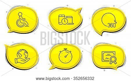 Disability Sign. Diploma Certificate, Save Planet Chat Bubbles. Timer, 360 Degrees And Time Manageme