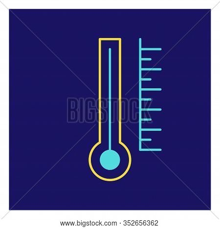 Modern Icon Illustration Of Thermometr On Blue Backdrop. Blue Background. Vector Icon. Graphic Vecto