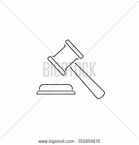 Judgement Justice Line Icon In Trendy Flat Style. Vector