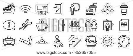 Elevator, Cloakroom And Taxi Icons. Public Services, Wifi Line Icons. Exit, Atm And Escalator. Wifi,