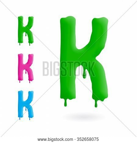 Letter K Logo. Green, Blue And Pink Character With Drips. Dripping Liquid Symbol. Isolated Vector.