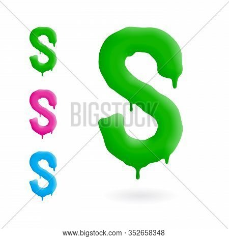 Letter S Logo. Green, Blue And Pink Character With Drips. Dripping Liquid Symbol. Isolated Vector.