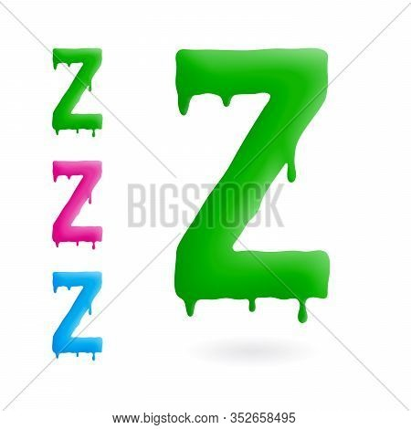 Letter Z Logo. Green, Blue And Pink Character With Drips. Dripping Liquid Symbol. Isolated Vector.
