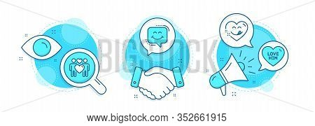 Love Him, Love Couple And Smile Chat Line Icons Set. Handshake Deal, Research And Promotion Complex