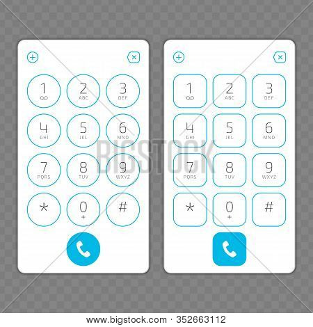 Keypad With Numbers And Letters For Phone. User Interface Keypad For Smartphone. Keyboard Template I