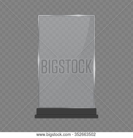 Transparent Glass Award, Trophy Glass Table Display. Plastic Clear Stand Reflection Shiny Plates Tem