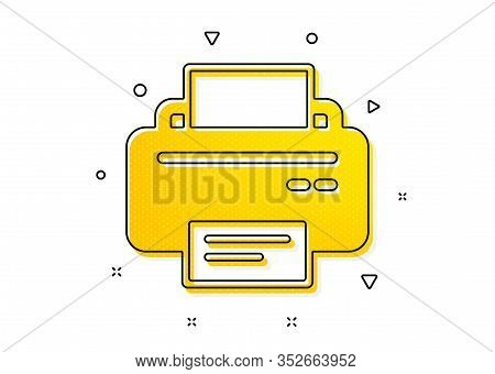 Printout Electronic Device Sign. Printer Icon. Office Equipment Symbol. Yellow Circles Pattern. Clas