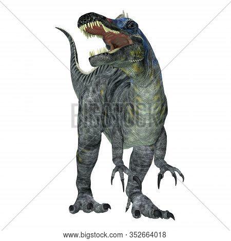 Suchomimus Dinosaur Over White 3d Illustration - Suchomimus Was A Theropod Carnivorous Dinosaur That