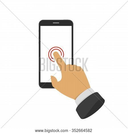 Touch Screen Icon. Pointing Of Finger On The Touch Screen Of The Smartphone. Touching Display By Fin